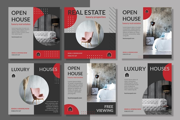 Real estate instagram post template Free Vector