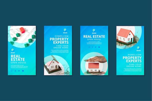 Raccolta di storie di instagram immobiliari Vettore gratuito