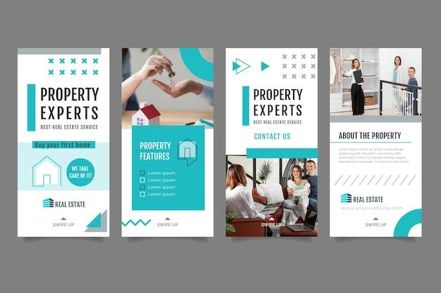 Шаблон рассказов о недвижимости в instagram Premium векторы