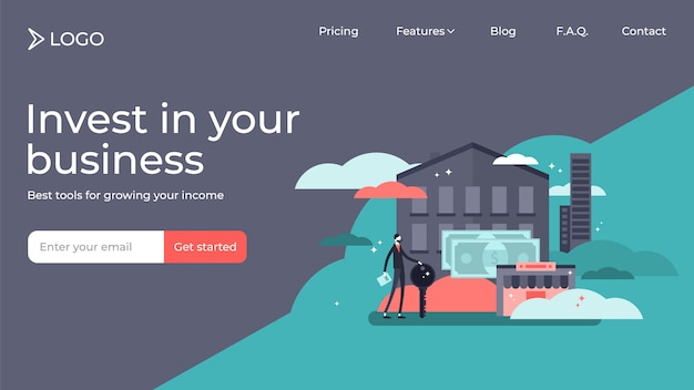 Real estate investing flat tiny persons vector illustration landing page template design Premium Vector