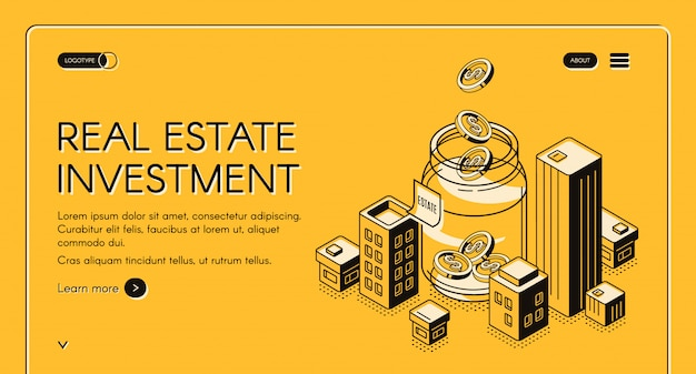 Real estate investment isometric landing page Free Vector