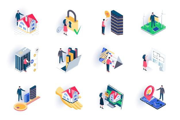 부동산 아이소 메트릭 아이콘 설정합니다. 건물 판매, 담보 및 임대, 건축 공학 및 건설 평면 그림. 사람들이 문자로 부동산 기관 3d 아이 소메 트리 픽토그램 프리미엄 벡터