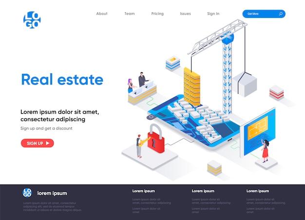 Изометрический шаблон целевой страницы недвижимости Premium векторы
