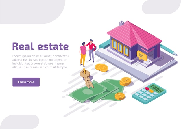 Real estate isometric landing page Free Vector