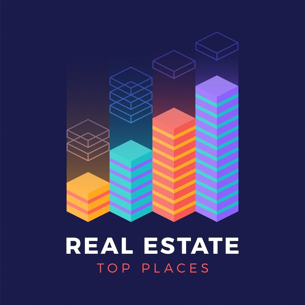 Real estate isometric logo Premium Vector