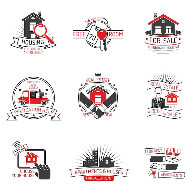 Real estate labels Free Vector