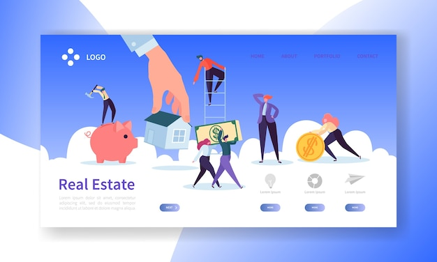 Real estate landing page. investment in property banner with  people characters buying apartments website template. Premium Vector