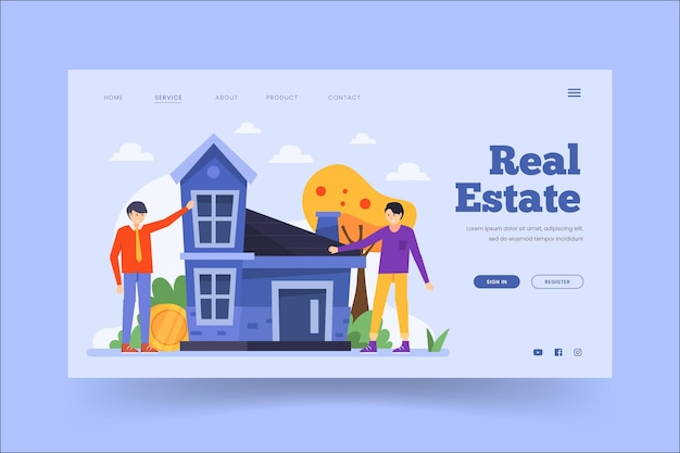 Real estate landing page template Free Vector