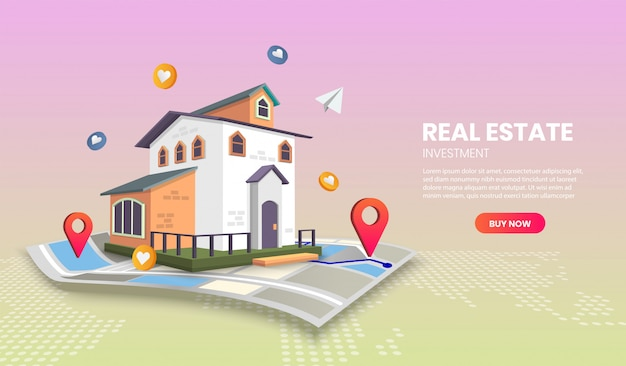 Real estate landing page templates app page.for web banner, infographics, hero images. hero image for website. Premium Vector