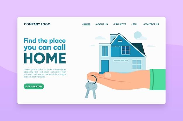 Целевая страница недвижимости с иллюстрациями Бесплатные векторы