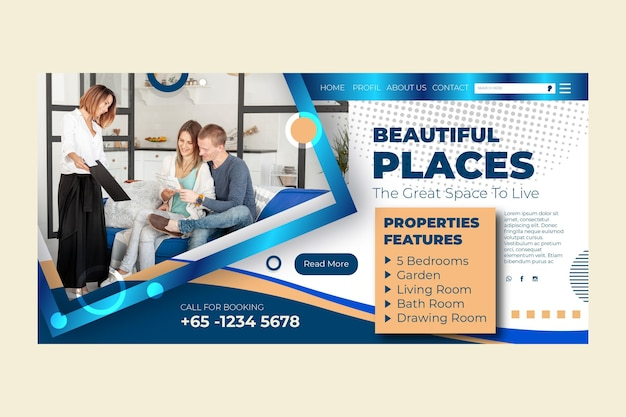 Real estate landing page Free Vector