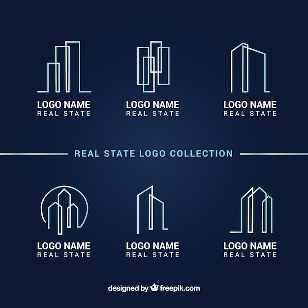 Real estate logo collection on a dark blue background Free Vector