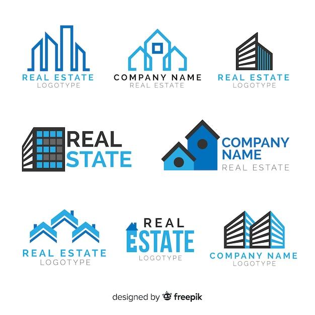 Real estate logo collection Free Vector
