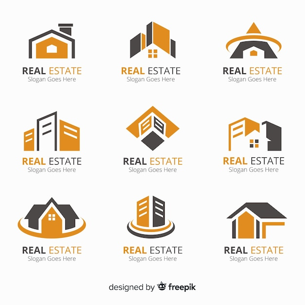 Real estate logo collection Free Vector
