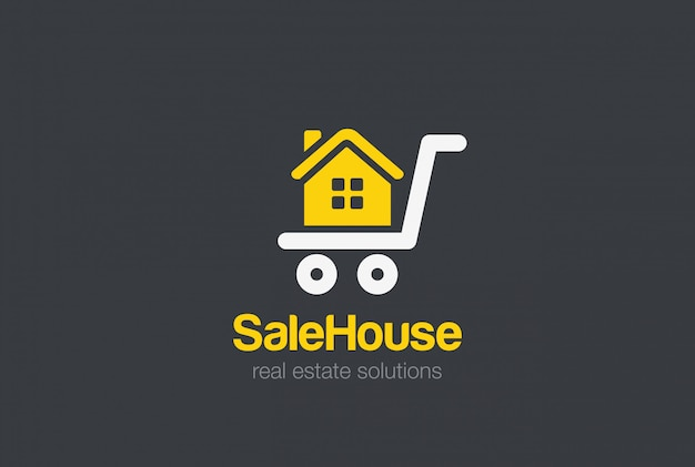 Real estate logo design   template. sale cart house silhouette logotype concept Free Vector