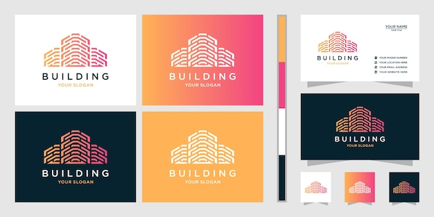 Дизайн логотипа недвижимости и визитная карточка Premium векторы