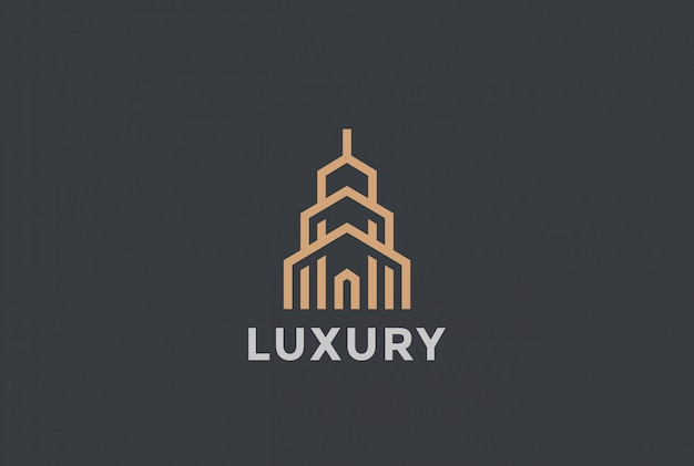 Real estate logo     linear style. Free Vector