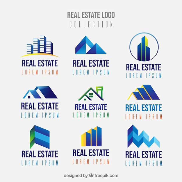 Real estate logos collection in flat style Free Vector