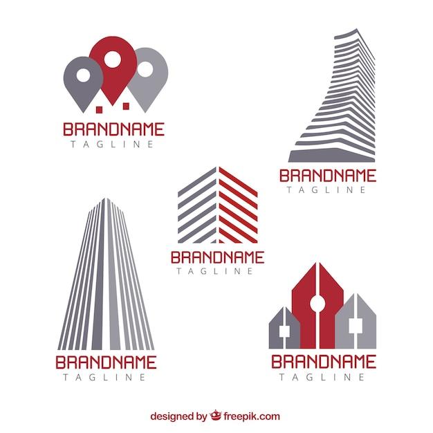Real estate logos in flat design Free Vector