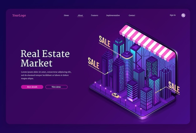 부동산 시장 배너. 판매 또는 임대용 검색 주택 및 아파트에 대한 온라인 서비스. 무료 벡터