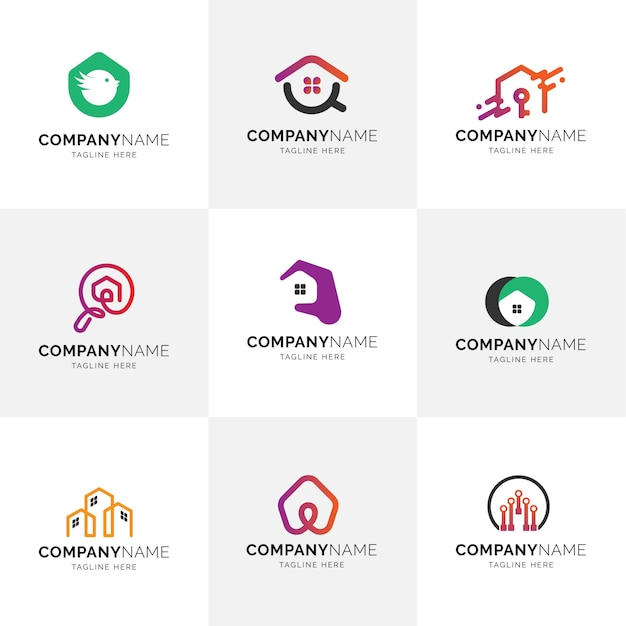 Real estate modern flat minimalist house property management logos Premium Vector