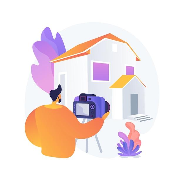 不動産写真抽象的な概念ベクトルイラスト。不動産写真サービス、不動産代理店の広告、家の準備、写真編集、オンラインリストの抽象的な比喩。 無料ベクター