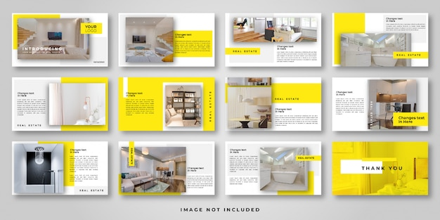 Real estate power point template Premium Vector