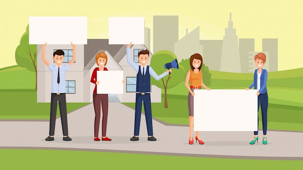 Real estate promotional campaign flat Premium Vector
