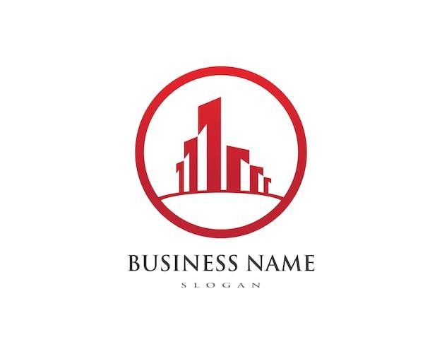 不動産、不動産および建設ロゴ Premiumベクター