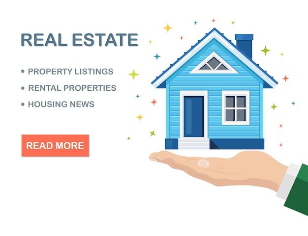 不動産、人間の手にある財産。住宅ローン、ローン、家賃 Premiumベクター