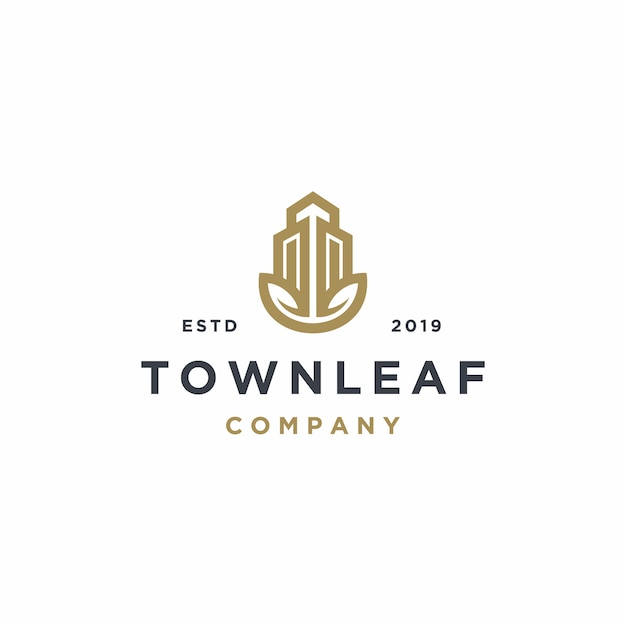 Real estate property with leaf logo template Premium Vector