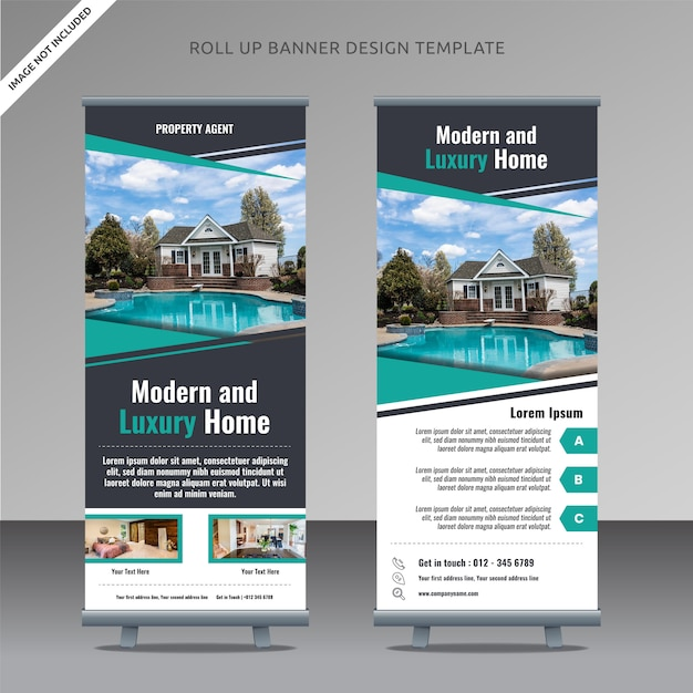 Real estate roll up banner template , organized layer Premium Vector