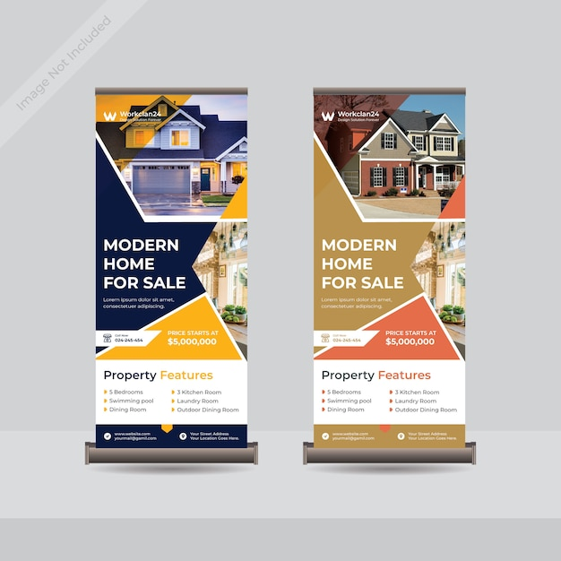 Real estate roll up stand banner template Premium Vector