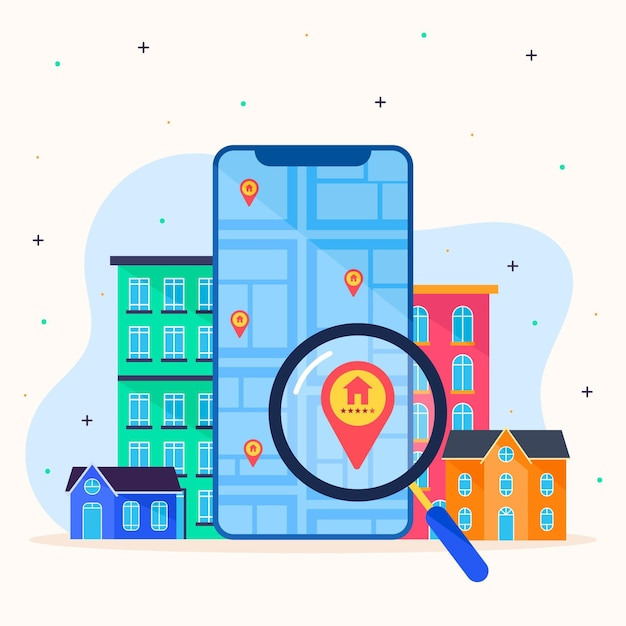 Real estate searching concept Free Vector