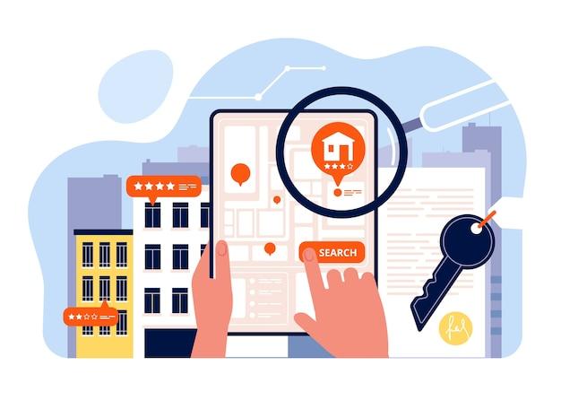Поиск недвижимости. аренда домов просмотр на экране мобильного устройства приложение поиск концепции дома изометрии. продажа дома поиск, иллюстрация недвижимости Premium векторы