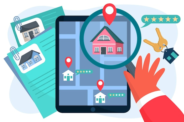 Real estate searching illustration Free Vector