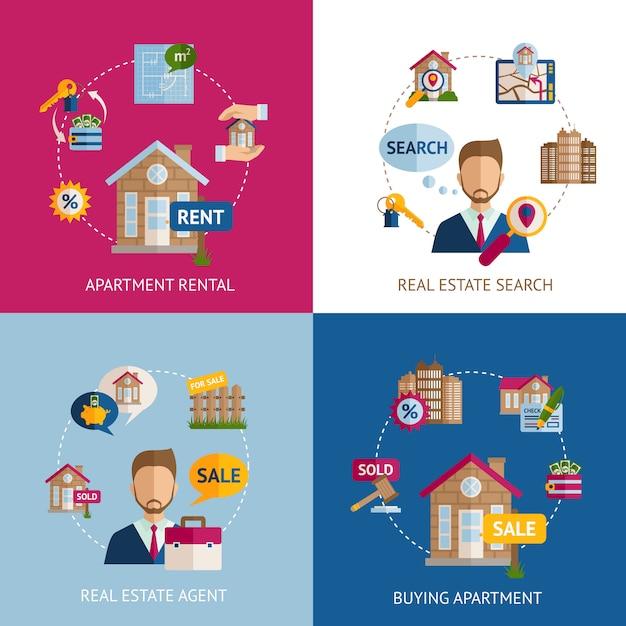 Real estate set Free Vector