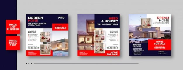 Real estate social media banner Premium Vector