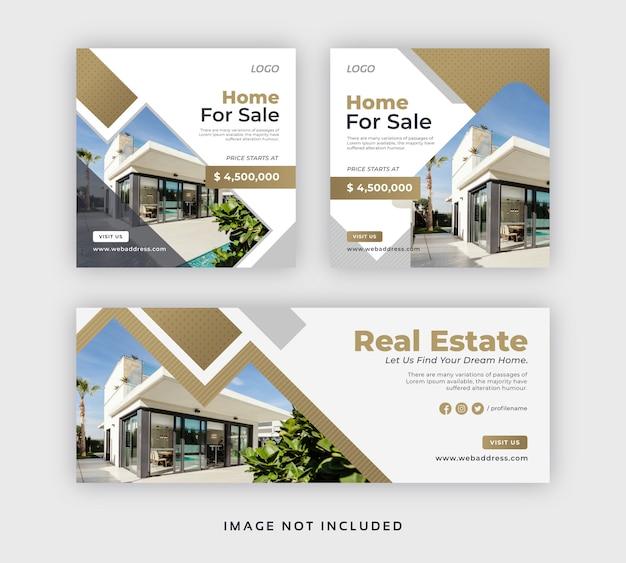 Real Estate Social Media Post Web Banner Facebook Cover Template Premium Vector