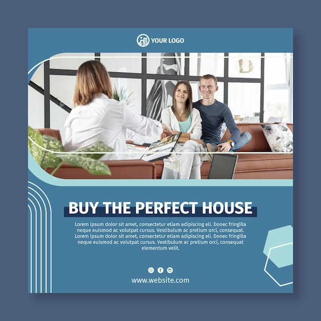 Modello di volantino quadrato immobiliare Vettore gratuito