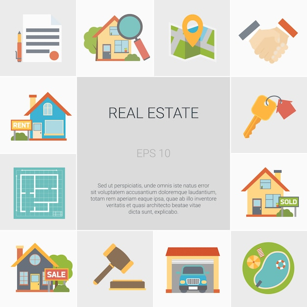 Real estate square icons set Free Vector