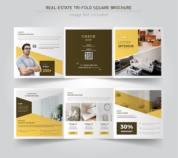 Real estate square trifold brohure Premium Vector
