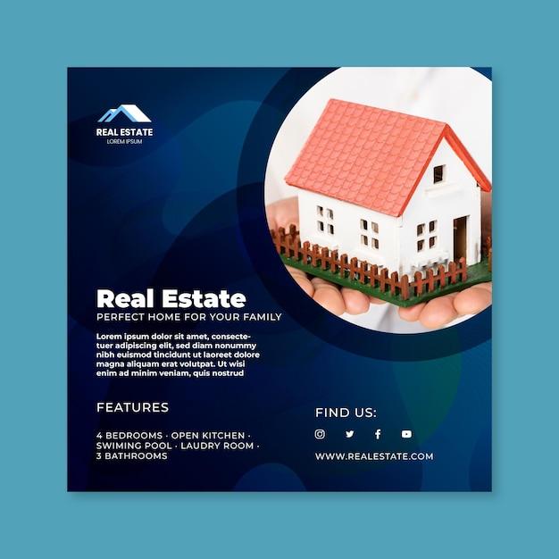 Volantino quadrato immobiliare Vettore gratuito