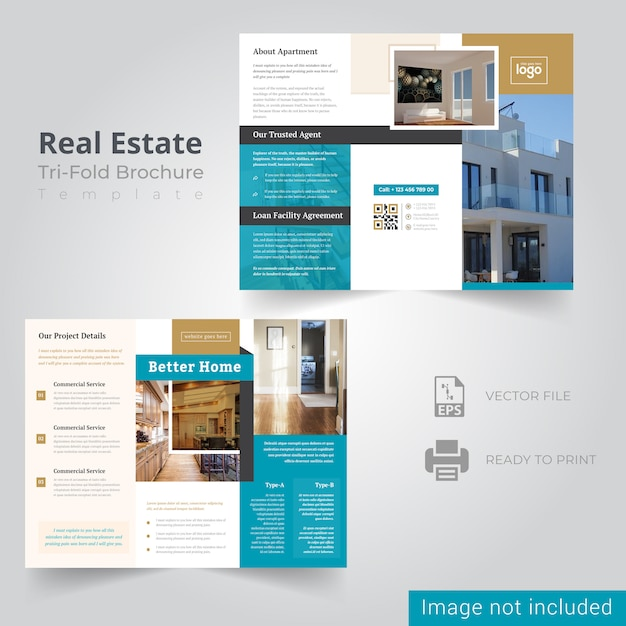 Real estate trifold brochure template Premium Vector