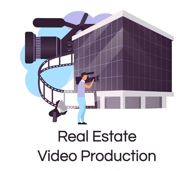 不動産ビデオ制作フラットコンセプトアイコン。ステッカー、クリップアートを作成する広告を販売する家。コマーシャルおよびプロモーション撮影の構築。白い背景の上の孤立した漫画イラスト Premiumベクター