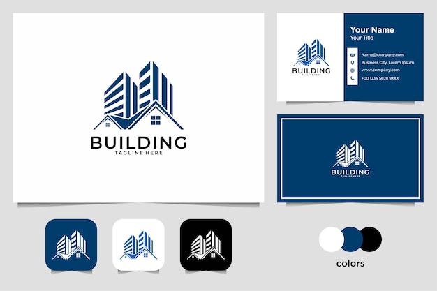 Real estate with building and house logo design and business card Premium Vector