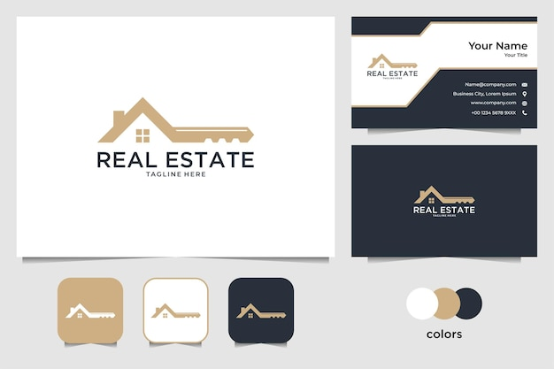 Real estate with house and key logo design and business card Premium Vector