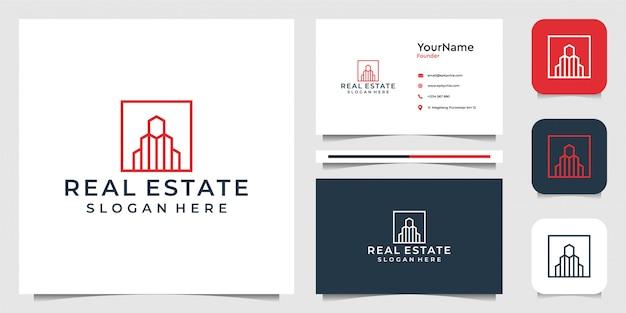 라인 아트 스타일의 부동산. 비즈니스, 건축, 건설, 브랜드, 광고 및 명함에 적합 프리미엄 벡터