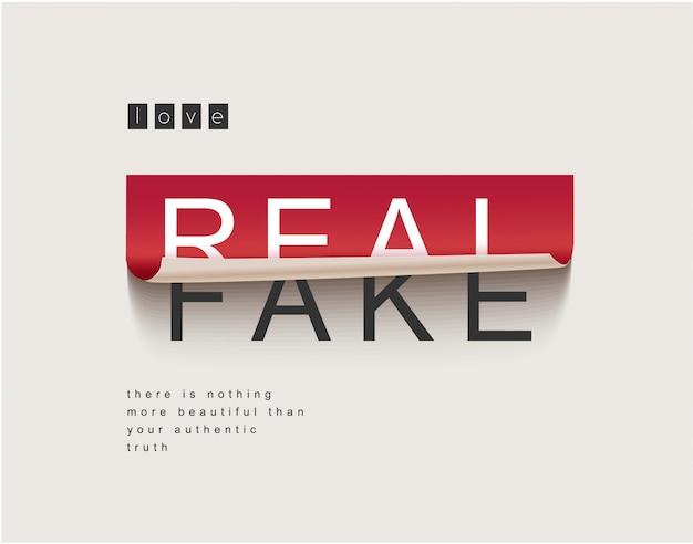 Real/fake sticker peeled off illustration Premium Vector
