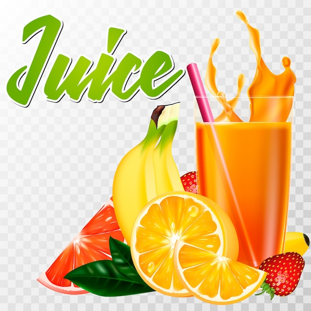 A real glass of juice with fruit and a splash Premium Vector
